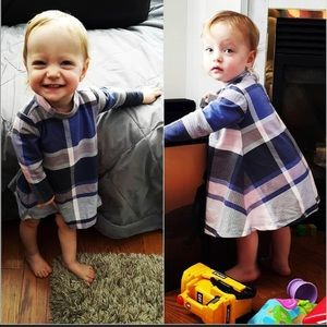 Old Navy Dresses - Old Navy cream,black and blue checker dress 6-12 M